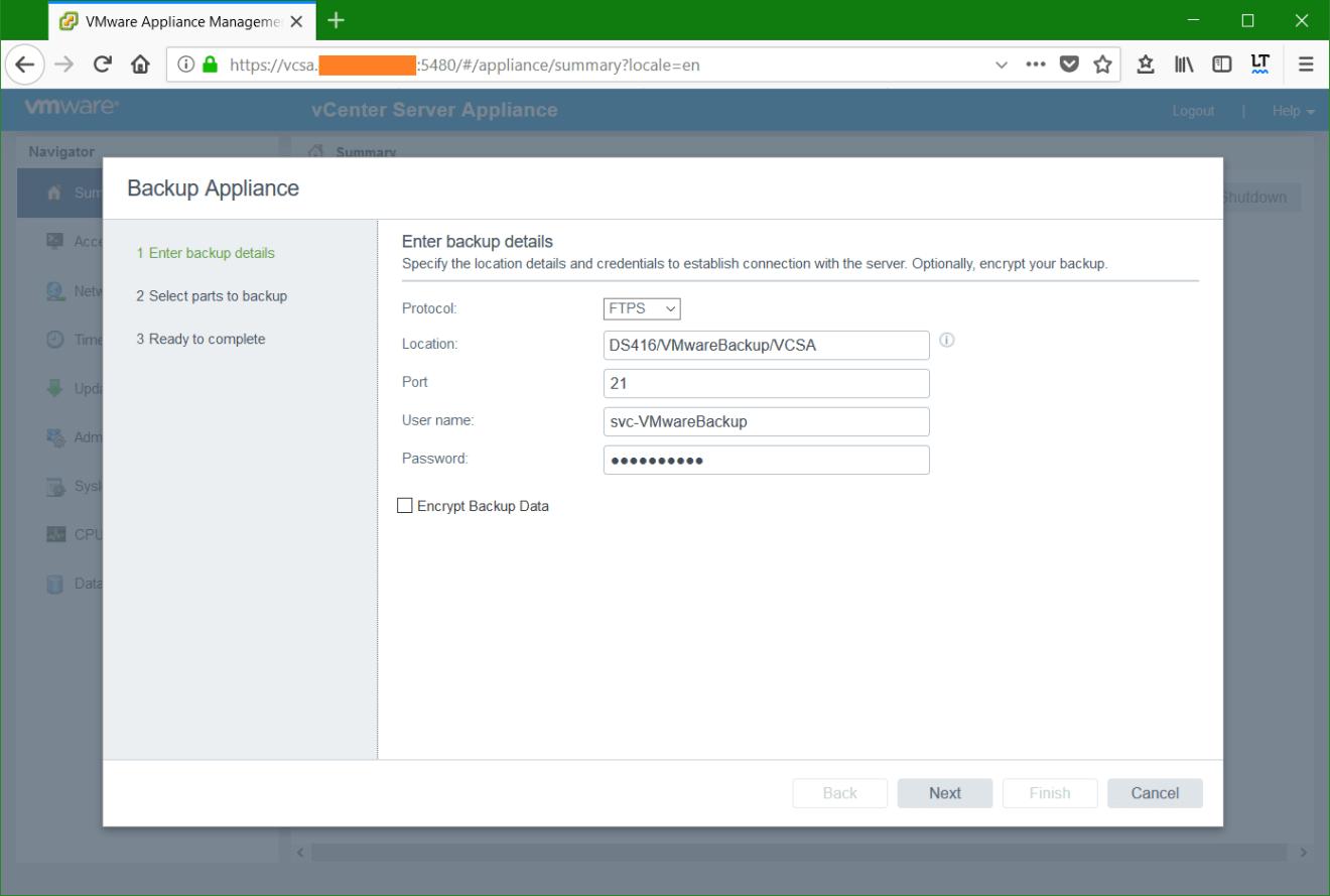 domalab.com VMware VCSA Backup details