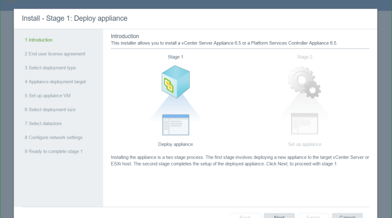 Quick overview of VMware VCSA install
