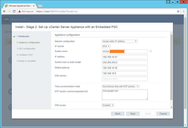 domalab.com VCSA install stage 2 network configuration