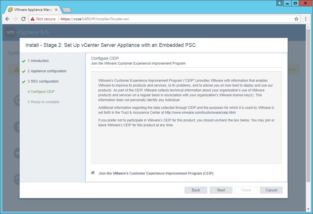 domalab.com VCSA install Join CEIP