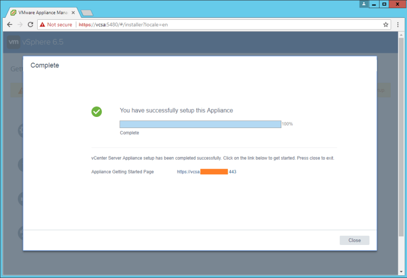 domalab.com VCSA install stage 2 complete