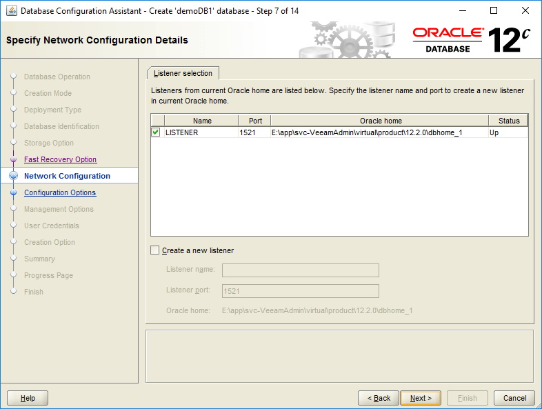domalab.com create oracle database network configuration