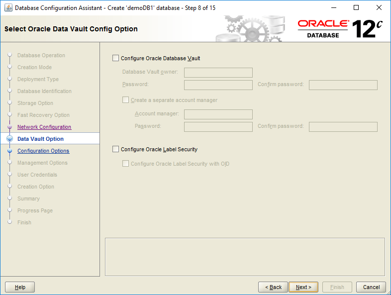 domalab.com create oracle database Data Vault option