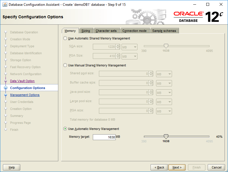 domalab.com create oracle database configuration options