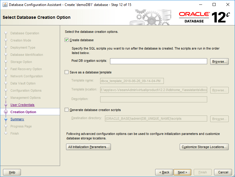 domalab.com create oracle database creation option