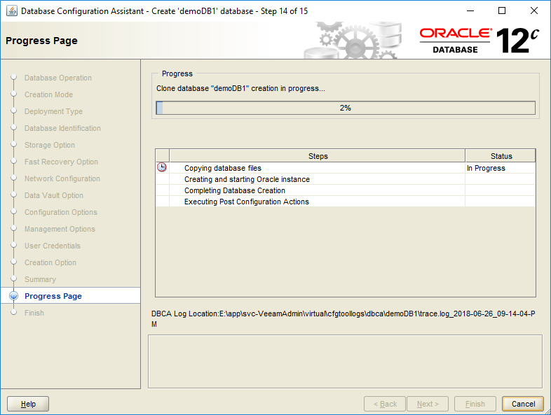 domalab.com create oracle database progress page
