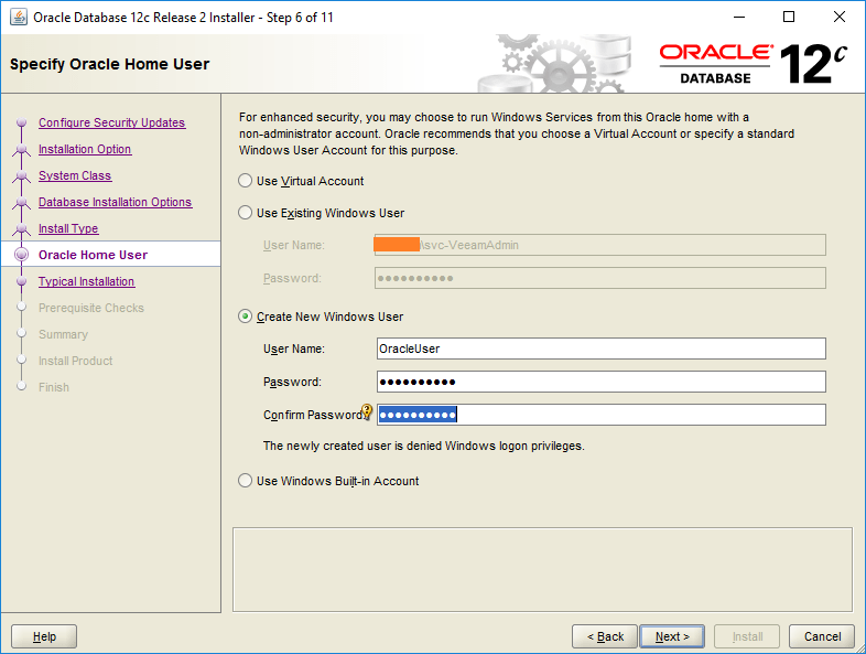 domalab.com Install Oracle new user account