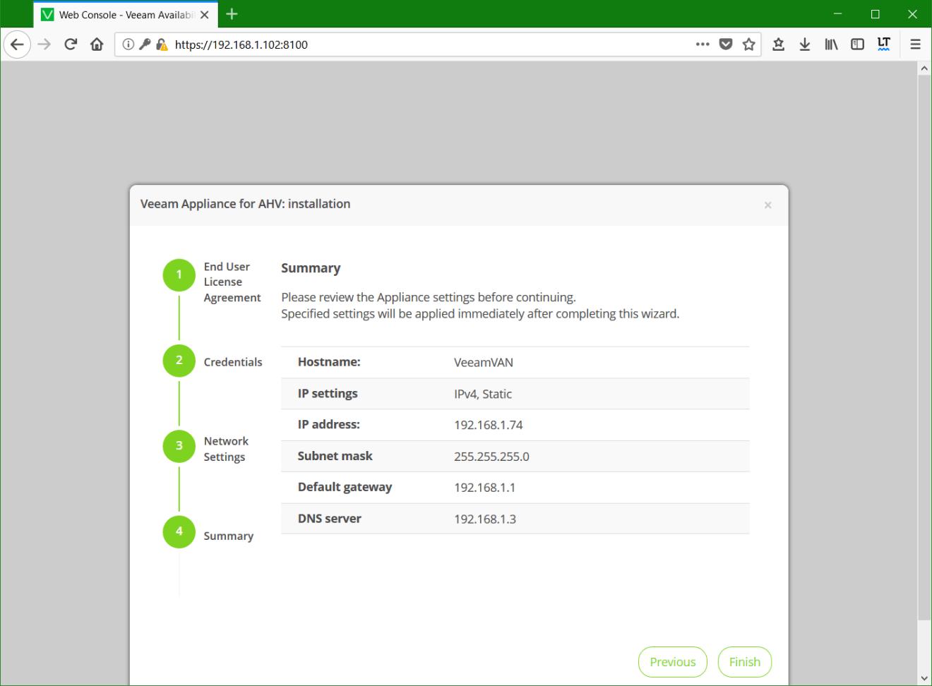 domalab.com Install Veeam VAN appliance summary
