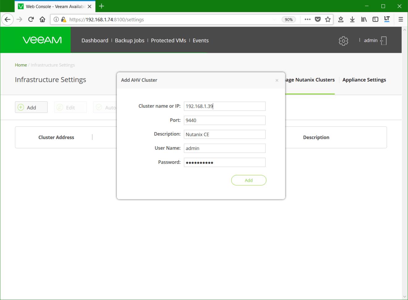 domalab.com Install Veeam VAN add nutanix cluster