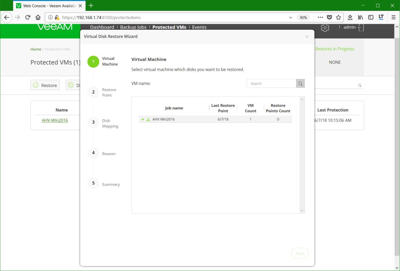 domalab.com Restore Nutanix AHV select VM