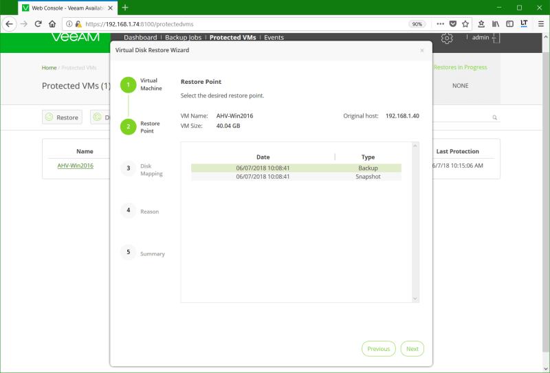 domalab.com Restore Nutanix AHV select Restore Point