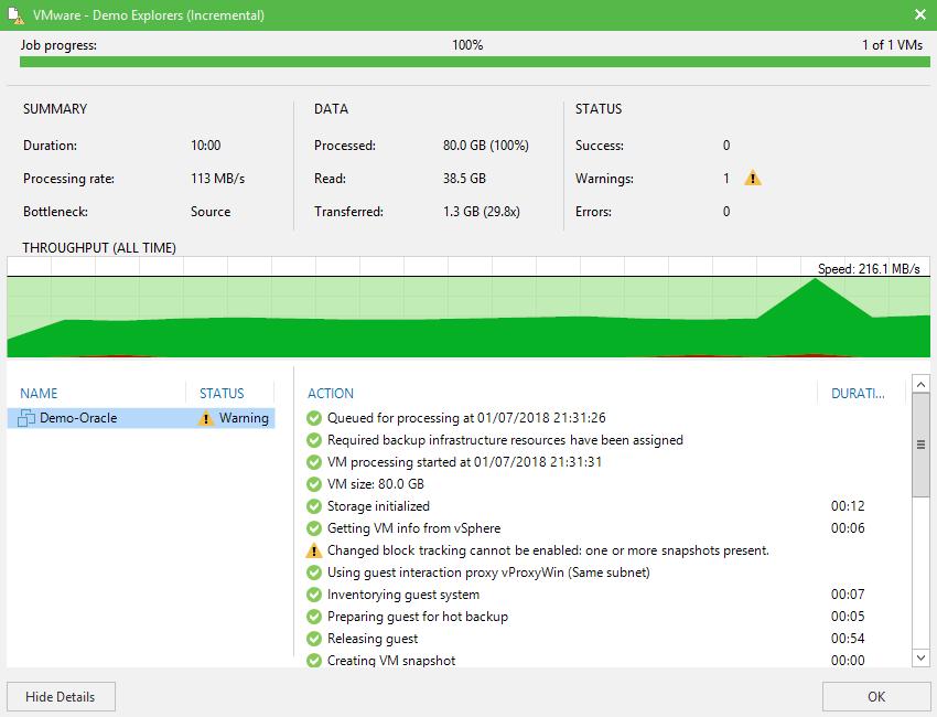 domalab.com Veeam Backup Oracle Database job progress