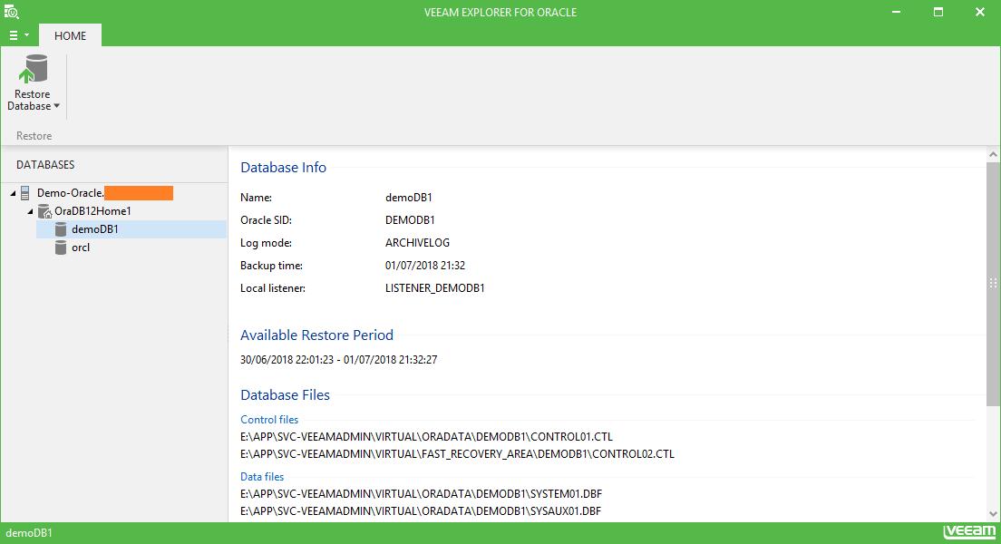 domalab.com Restore Oracle veeam explorer