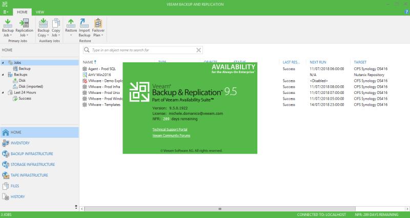 domalab.com Veeam Backup upgrade version check