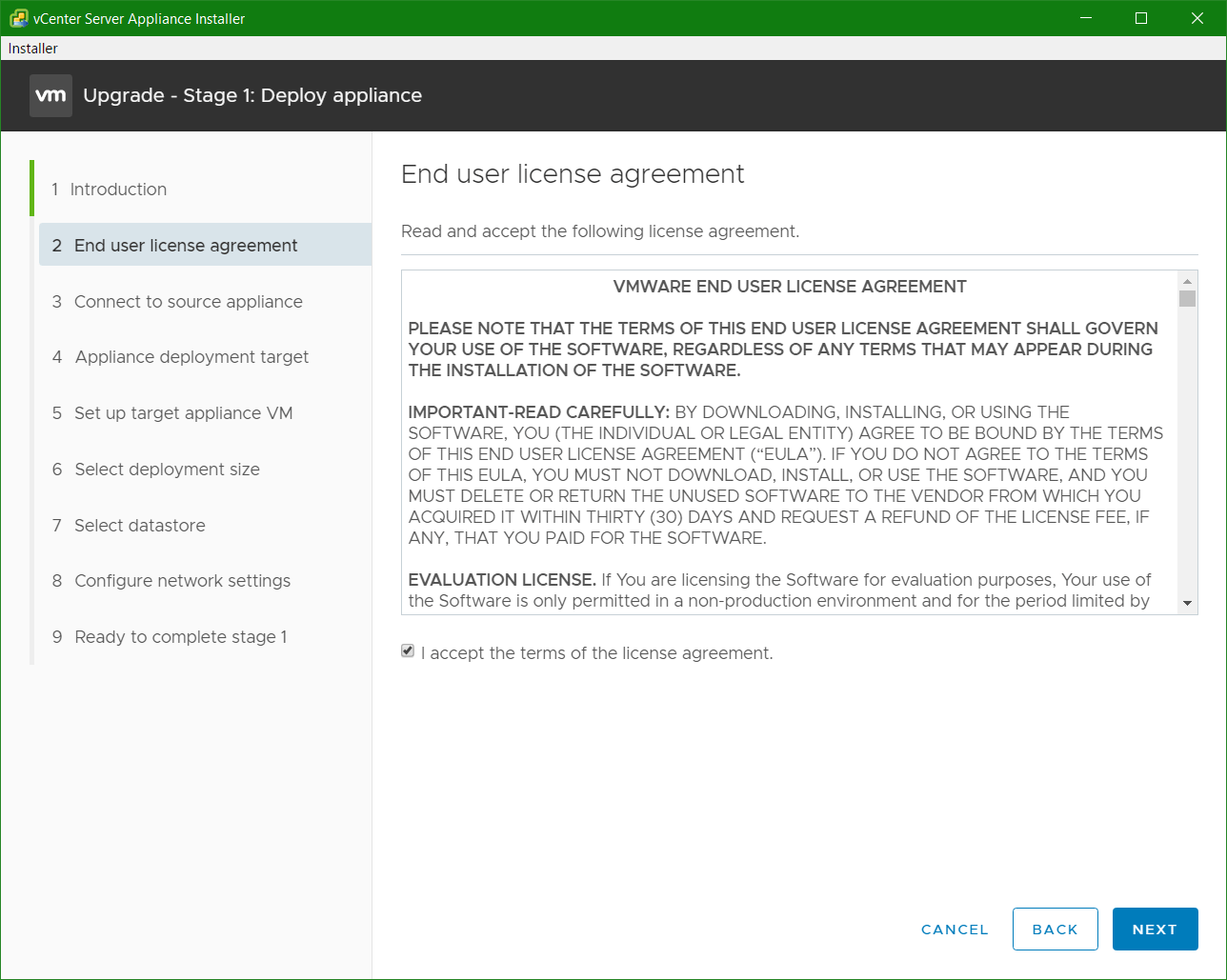 domalab.com VCSA upgrade stage 1 eula