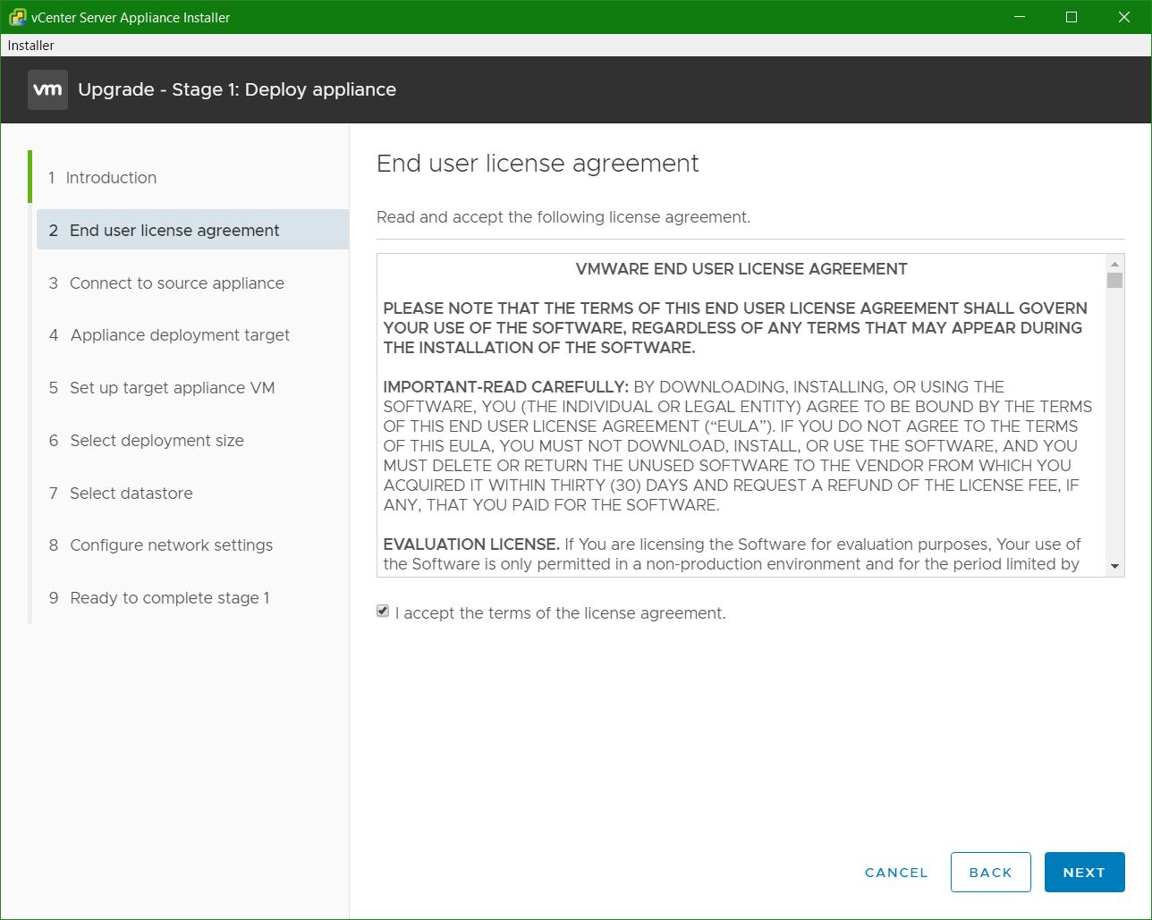 domalab.com VCSA upgrade stage 1 eula
