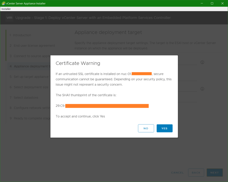domalab.com VCSA upgrade stage 1 certificate