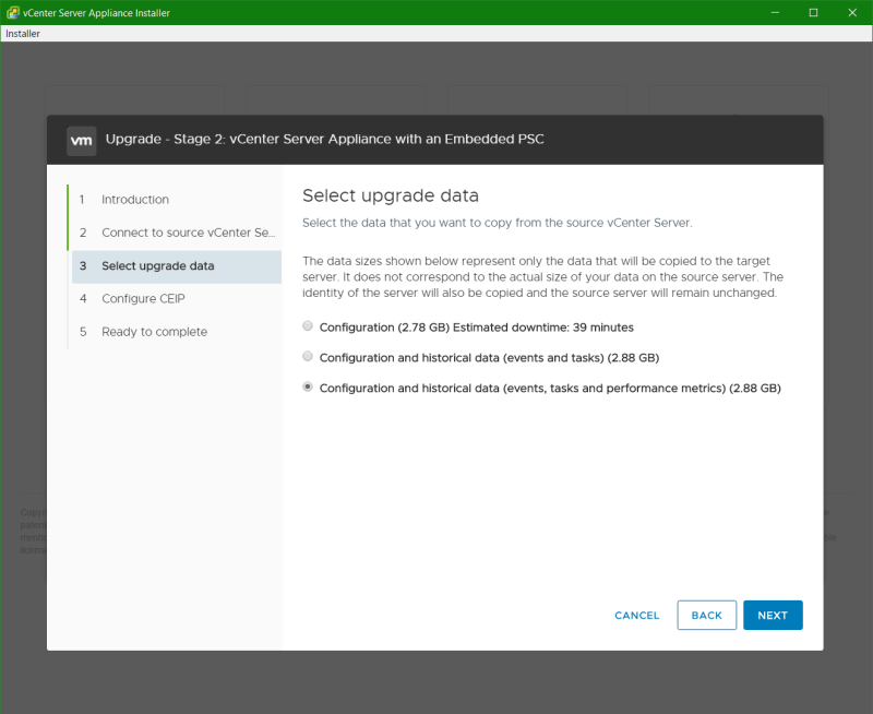 domalab.com vmware vcsa upgrade stage 2 select data