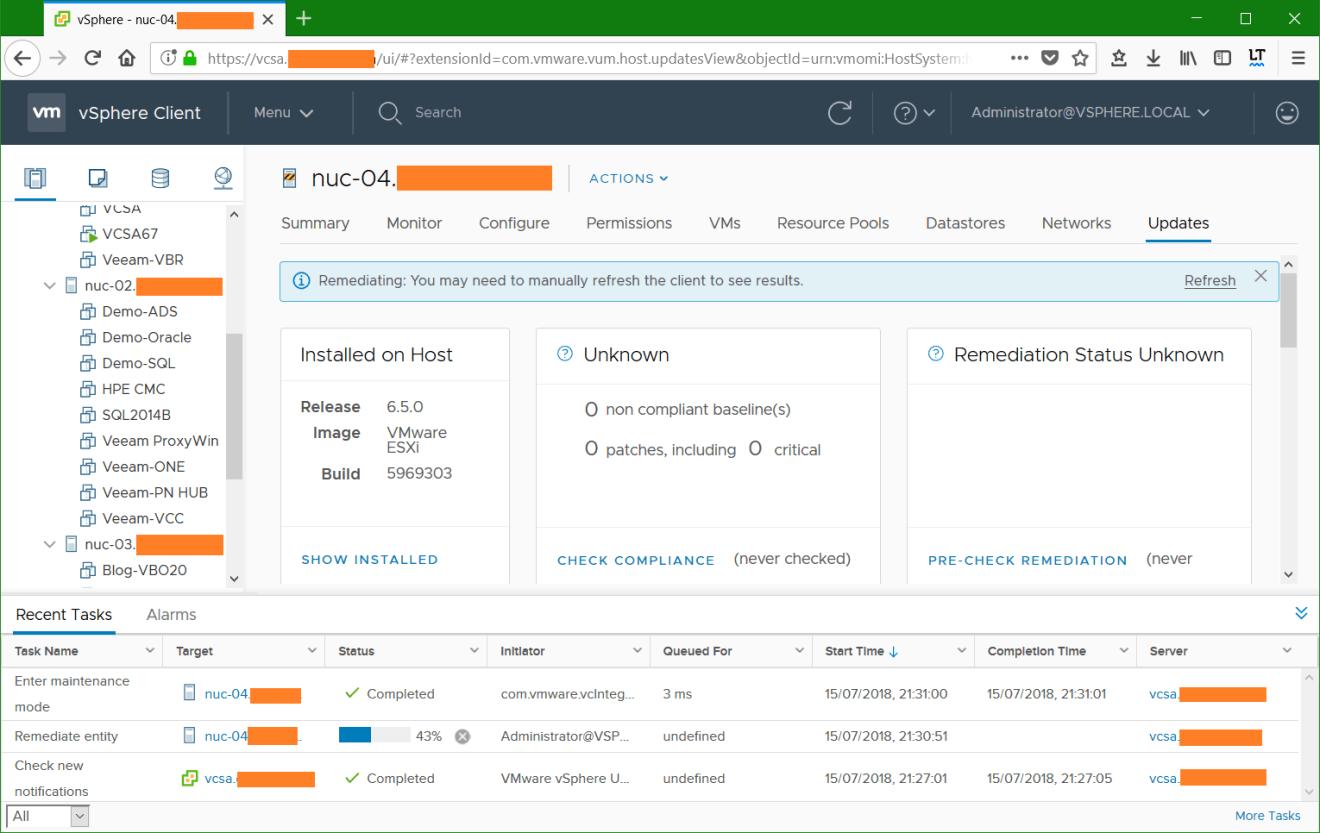 domalab.com VMware vSphere host remediation