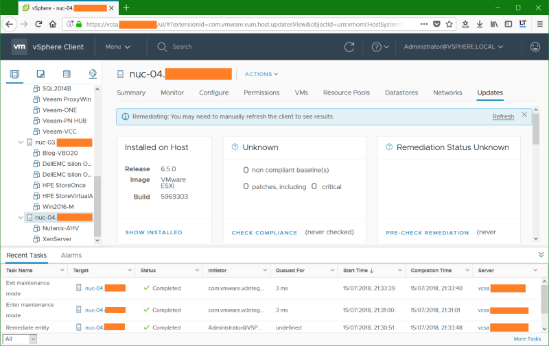 domalab.com VMware vSphere host remediation completed