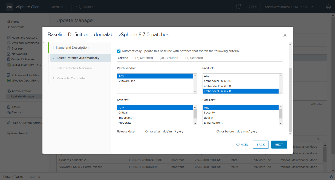 domalab.com install vSphere Patches baseline selection