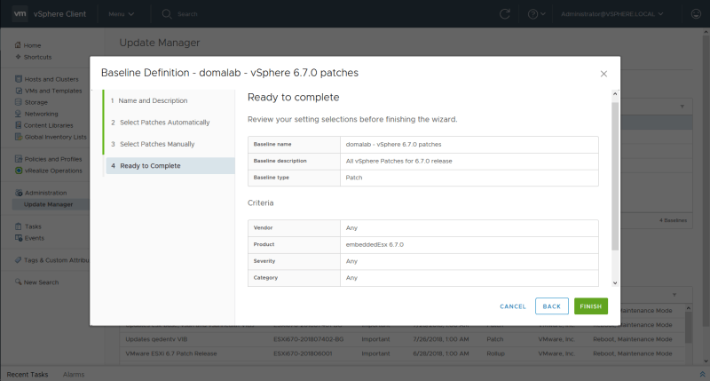 domalab.com install vSphere Patches baseline summary