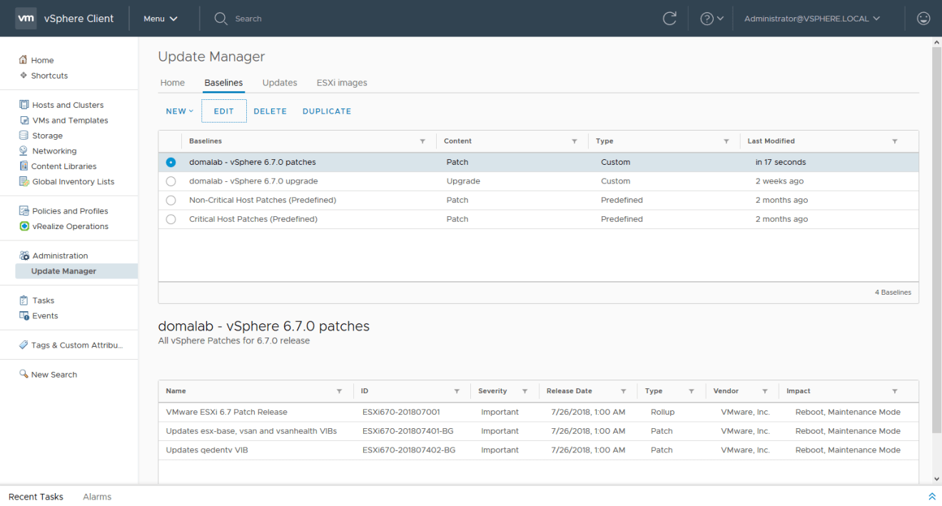 domalab.com install vSphere Patches edit baseline