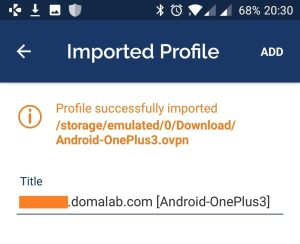 domalab.com Connect Android imported profile