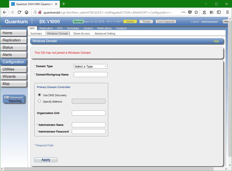 domalab.com Quantum DXi CIFS Windows Domain