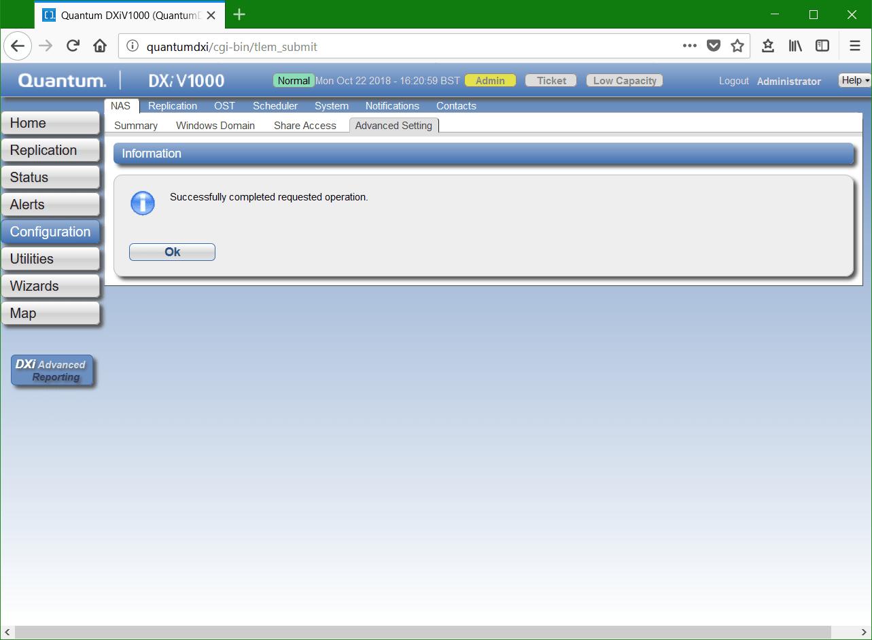 domalab.com Quantum DXi CIFS Advanced settings complete
