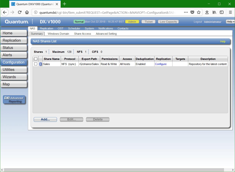 domalab.com Quantum DXi CIFS configuration