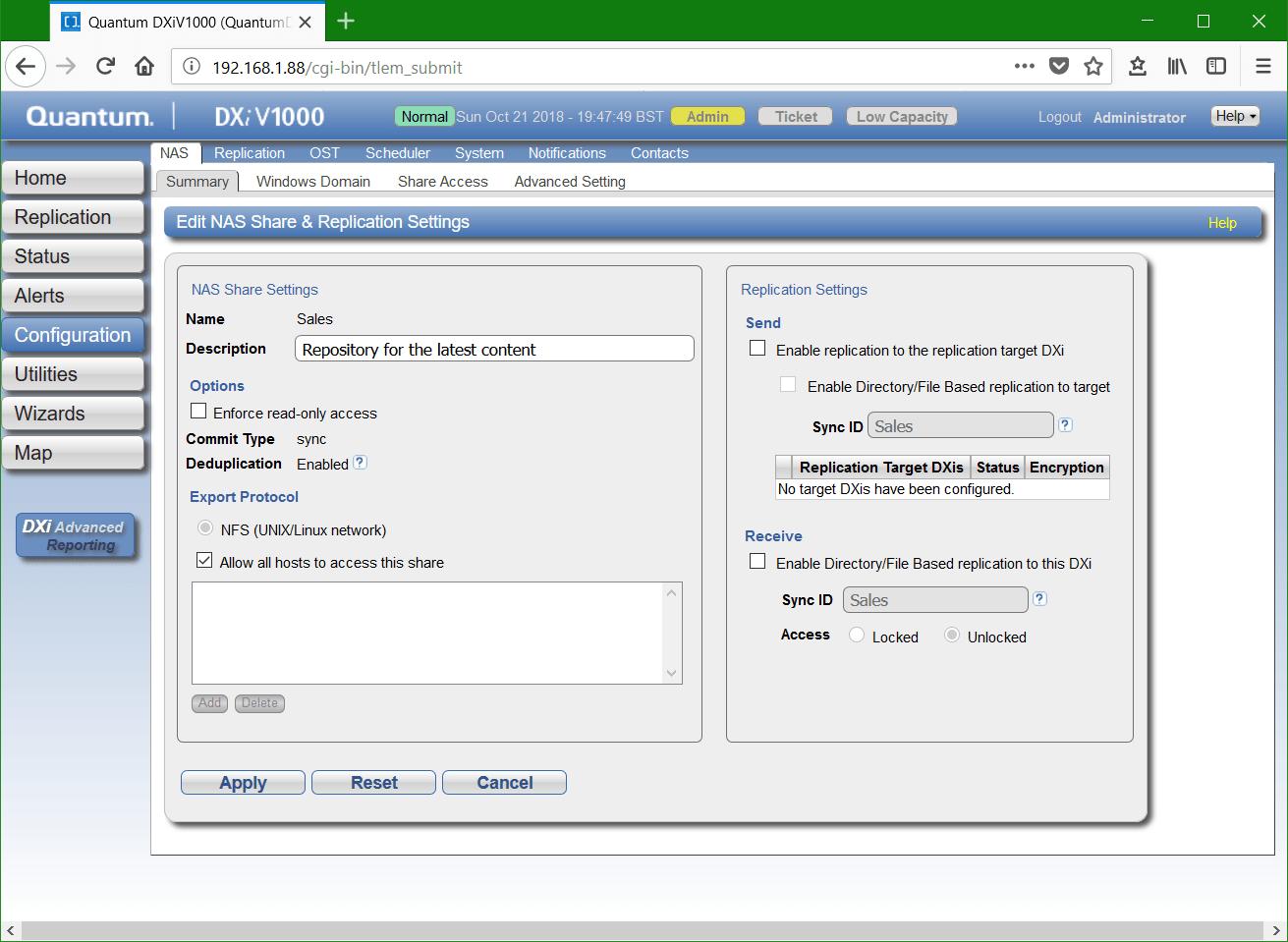 domalab.com Quantum DXi NFS edit NFS shares