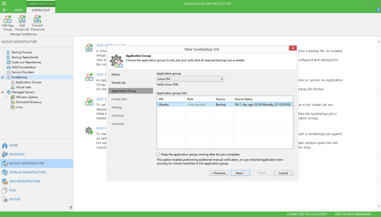 domalab.com Veeam SureBackup for Linux application group