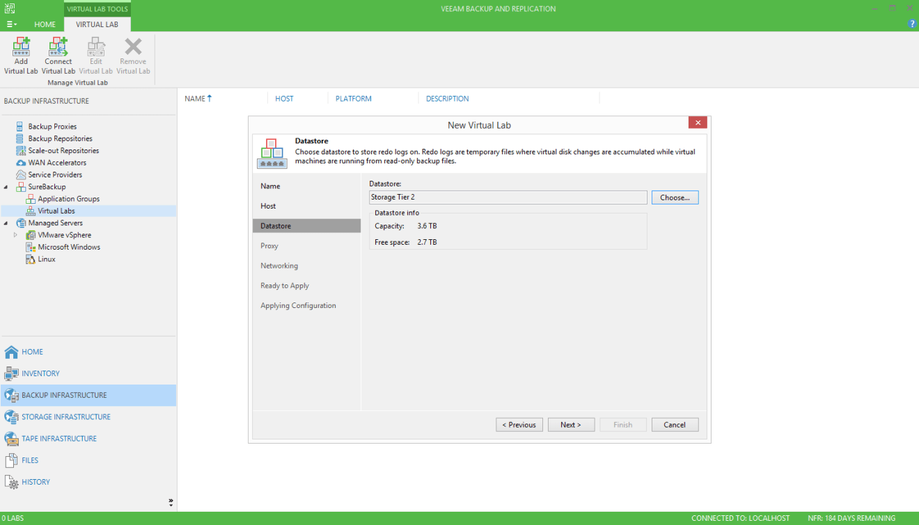 domalab.com Veeam SureBackup job virtual lab datastore