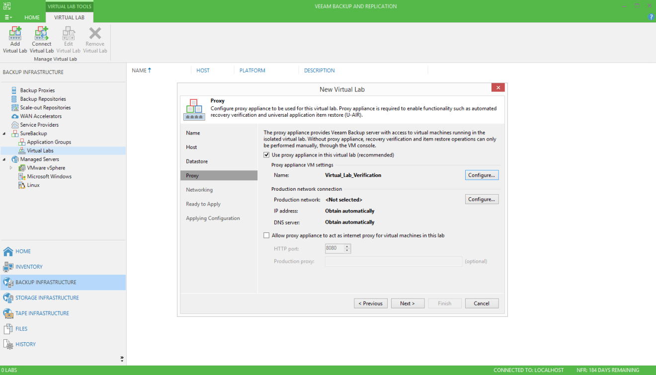 domalab.com Veeam SureBackup job virtual lab proxy