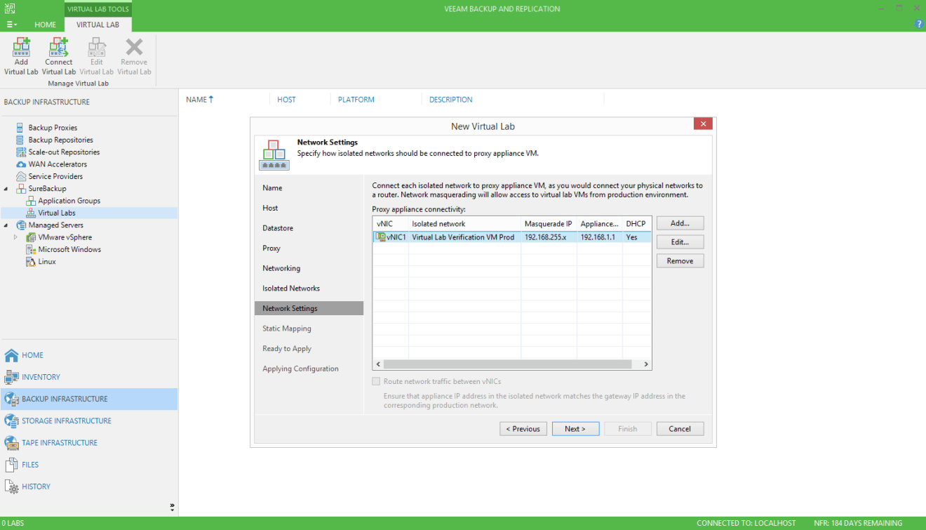 domalab.com Veeam SureBackup job virtual lab isolated networking