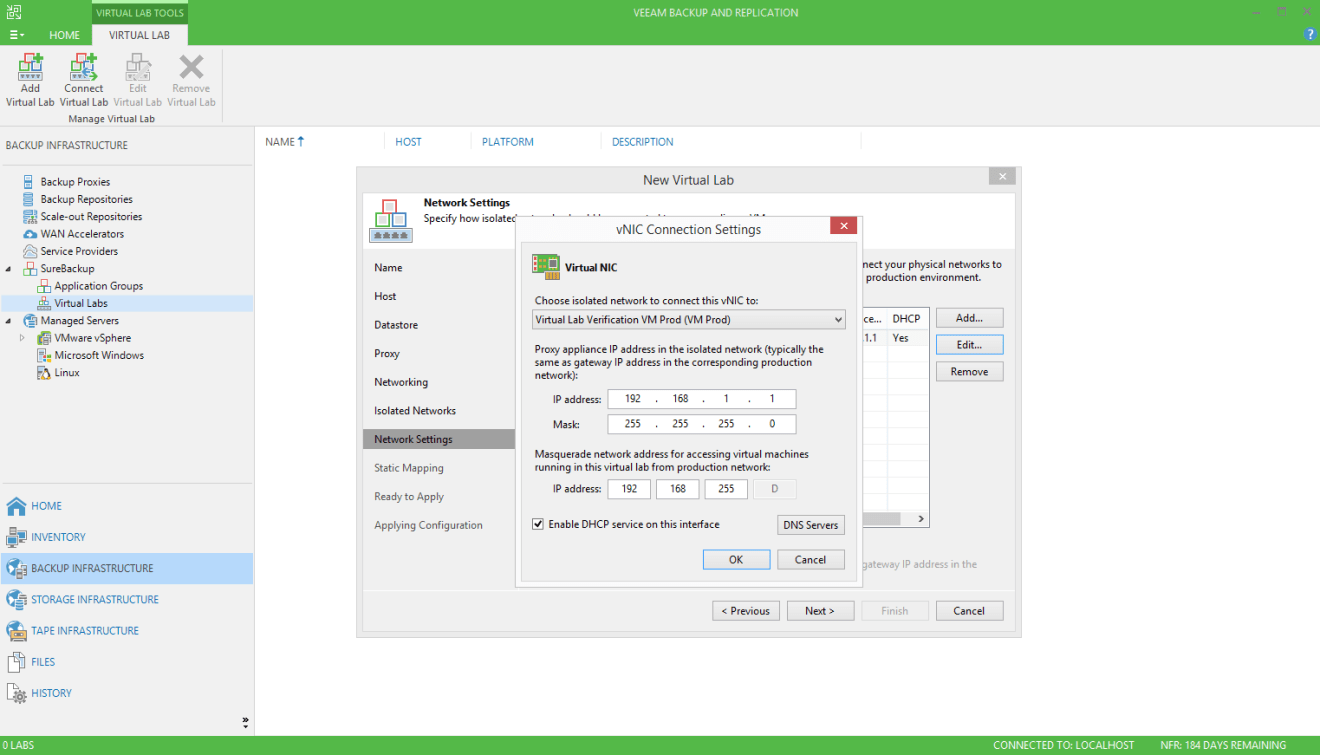 domalab.com Veeam SureBackup job virtual lab nic