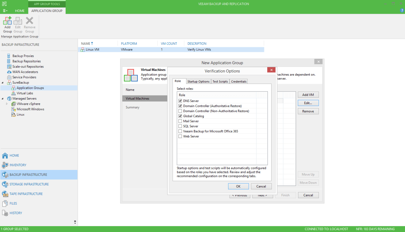 domalab.com Veeam SureBackup for Domain Controller verification options