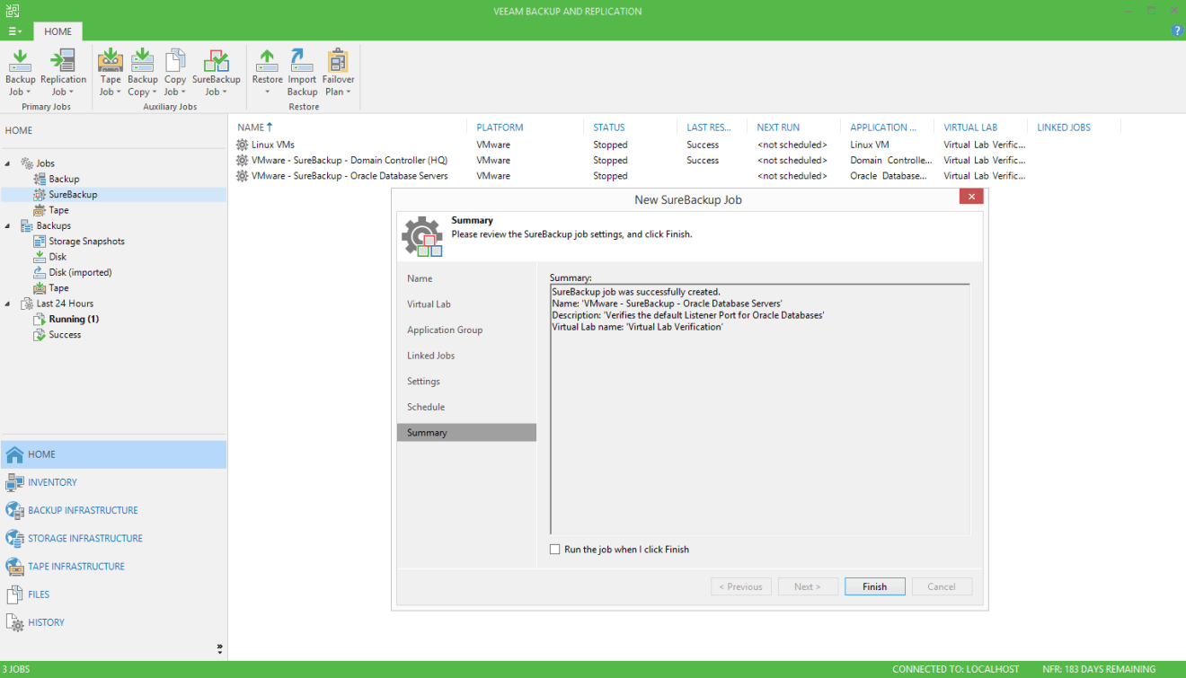 domalab.com Veeam custom SureBackup oracle summary