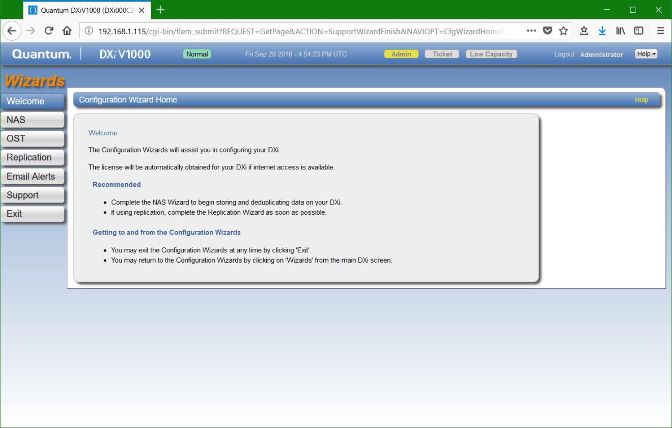 domalab.com update Quantum DXi configuration wizard