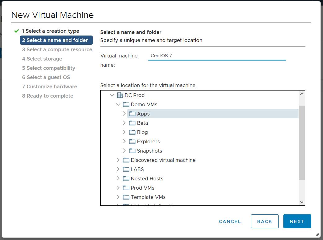 domalab.com Linux CentOS 7 install vm name and folder