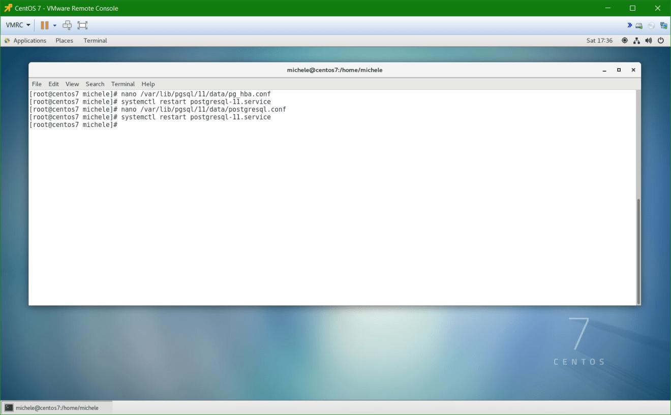 domalab.com install postgreSQL pgAdmin CentOS 7 restart service