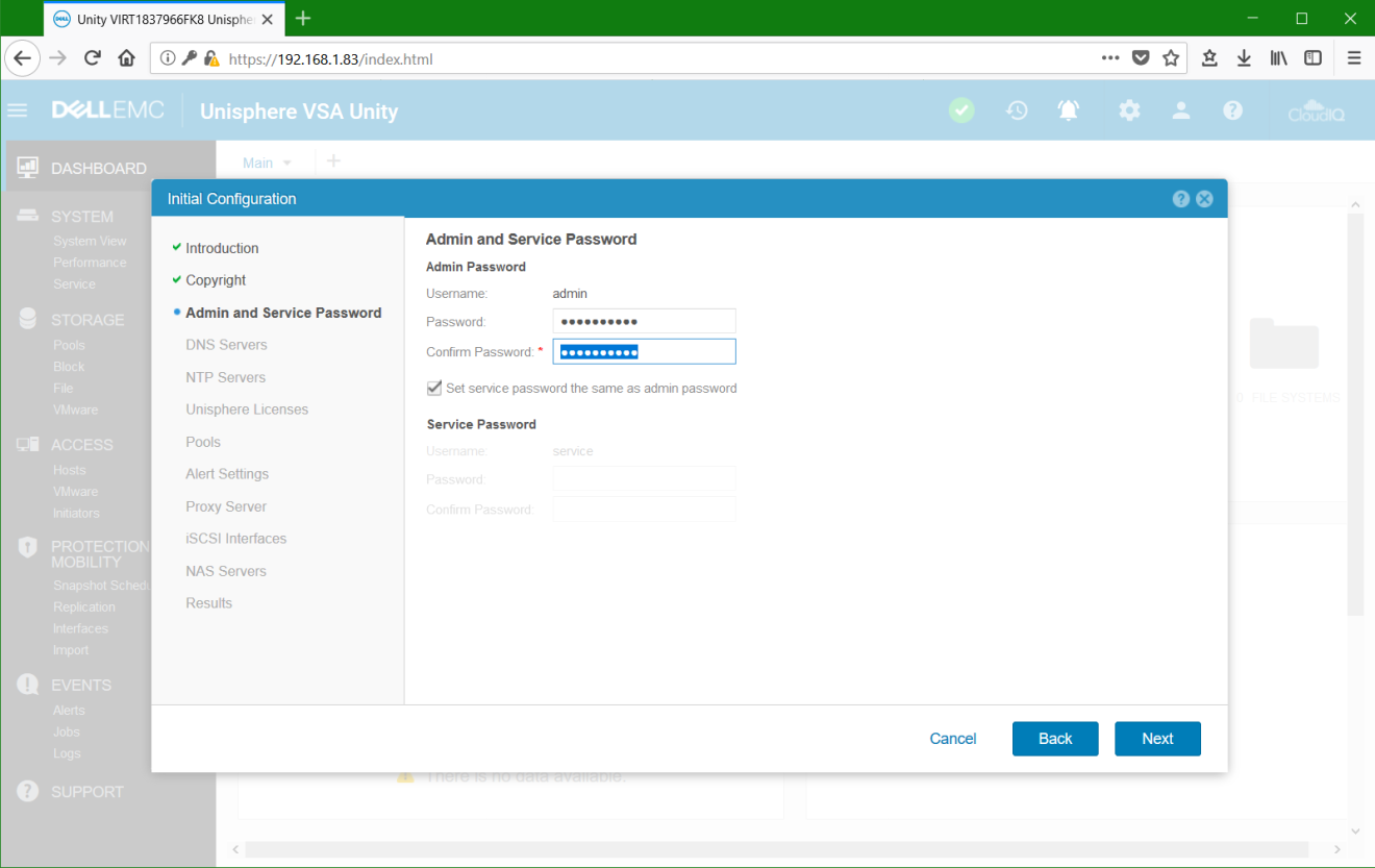 domalab.com Dell EMC Unity VSA unisphere admin password