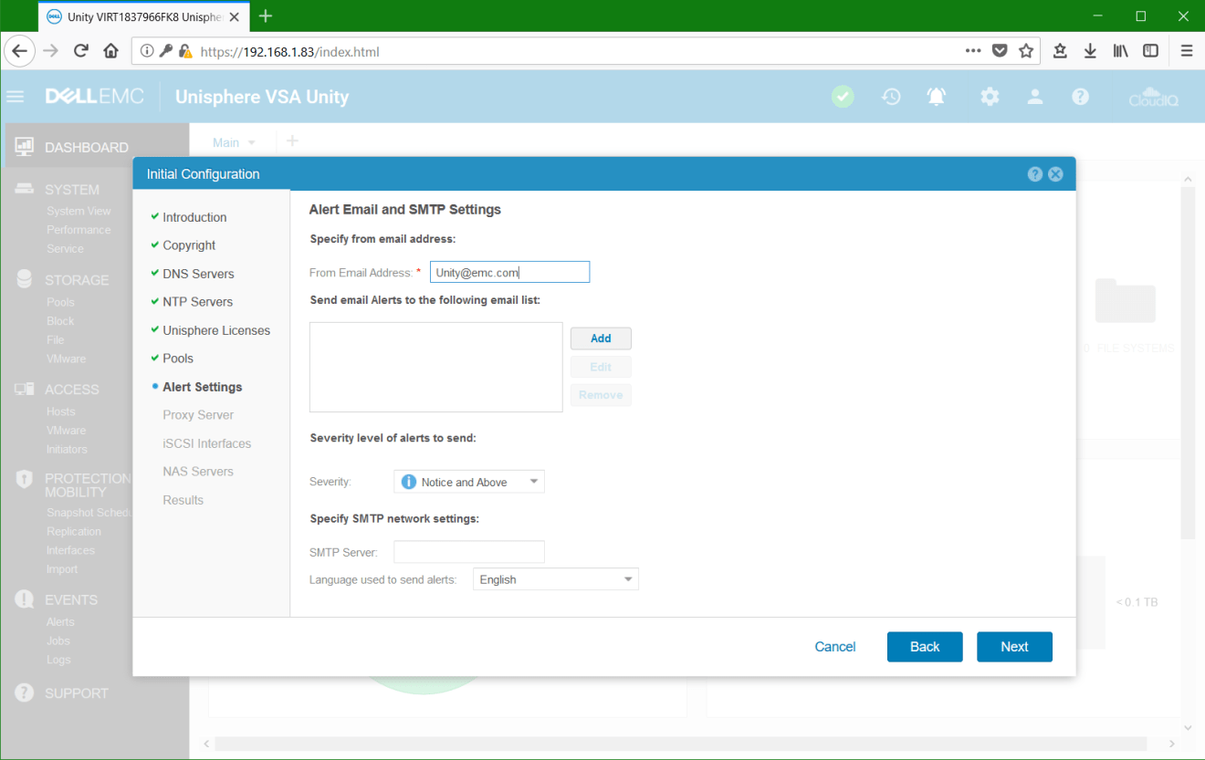 domalab.com Dell EMC Unity VSA alert settings