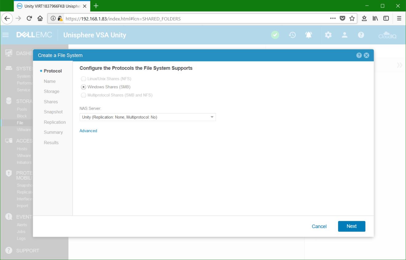 domalab.com Dell EMC Unity File System nas server protocol