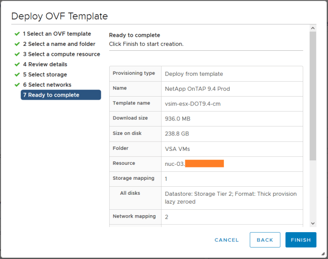 domalab.com Deploy Netapp ONTAP Sim ova wizard complete