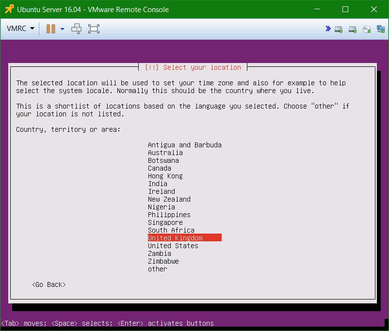 domalab.com Install Ubuntu Server VMware select location