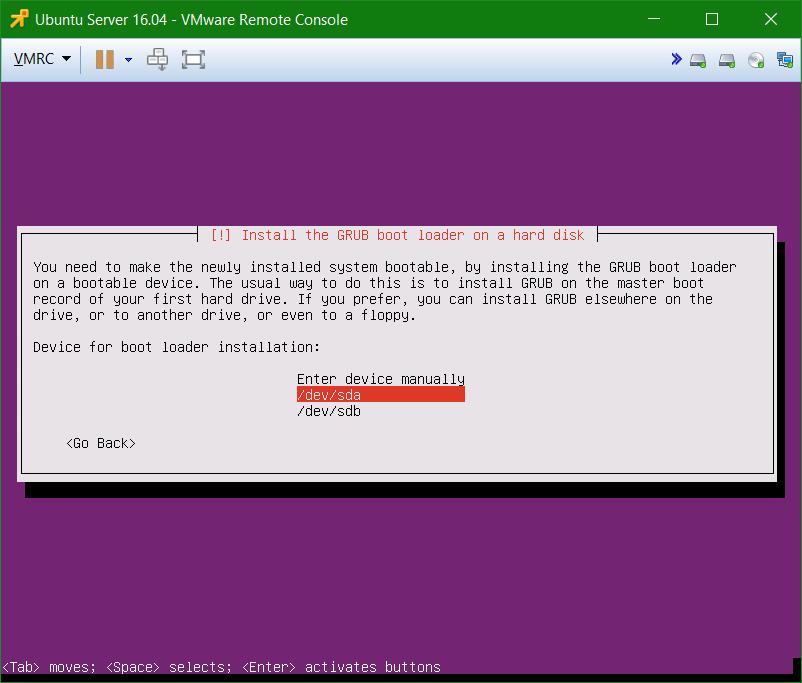 domalab.com Install Ubuntu Server VMware GRUB loader