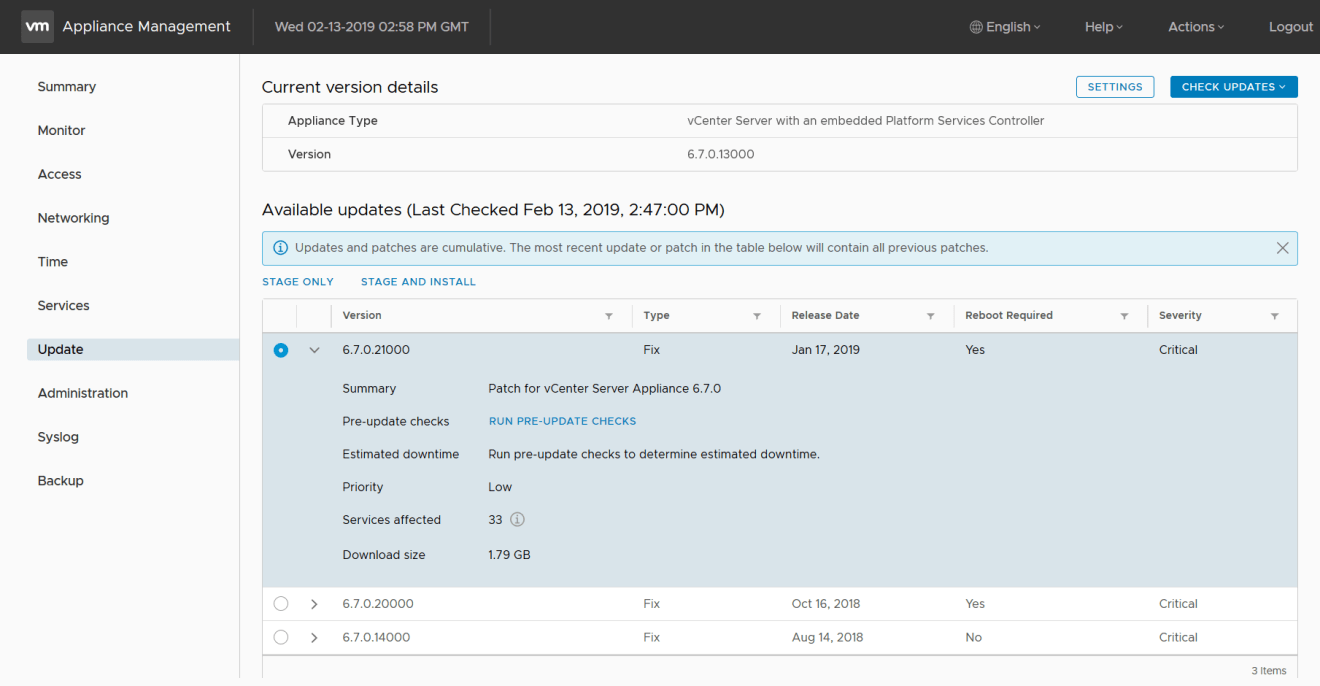 domalab.com VMware VCSA update latest cumulative patches