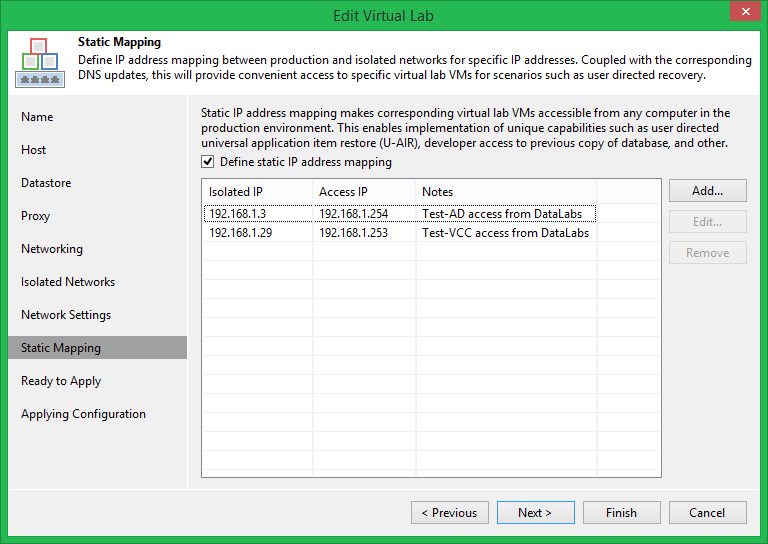 domalab.com Veeam DataLabs test static mappings